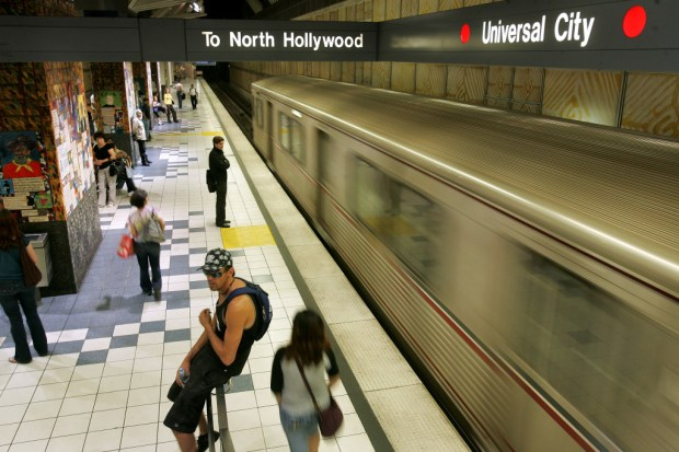 File photo: The Metro Red Line arrives at the Universal City station. (Daily News file photo)