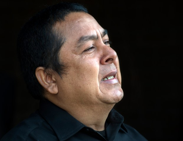 Tears fall as Jorge Reyes pleads for help in finding the suspect responsible for the murder of his 23-year-old son Jorge Reyes Jr., during a news conference for suspect identification for the murder of 23-year-old Jorge Reyes Jr. at the Devonshire Community Police Station in Northridge on Thursday, Dec. 18, 2017. (Photo by Ed Crisostomo, Los Angeles Daily News/SCNG)