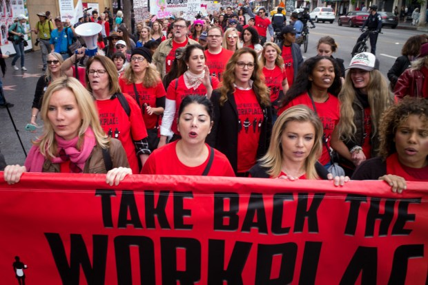 Take Back the Workplace marchers join with #MeToo marchers along Hollywood Boulevard to end sexual harassment in the workplace in this November 2017 file photo (File photo by David Crane, Los Angeles Daily News/SCNG).
