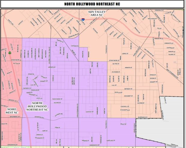 North Hollywood North East Neighborhood Council boundaries