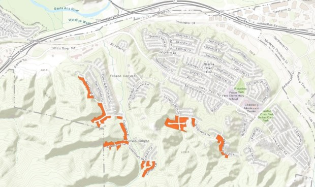 Areas of Corona that are shaded orange were put under a voluntary evacuation order Monday night, Jan. 8, 2018, because of the risk of flooding and debris flows in and downhill from the burn scar from last falls Canyon fire. (Courtesy of city of Corona)