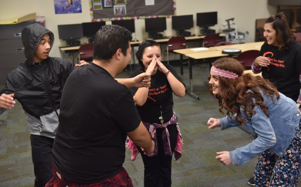 Kaleb Uyemura, theater instructor Albert Ochoa, Citlaly Chandler, Kayleigh Brown, and Georgina Flores perform during From the Heart Performing Arts class at Betty G. Gibbel Regional Learning Center in San Jacinto, on Thursday January 25, 2018.