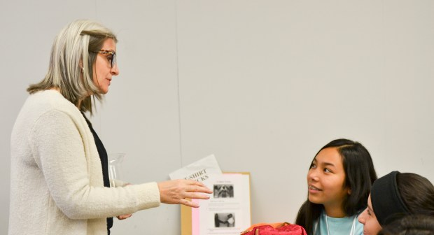 Angie Nett, left, human relations manager at Sorenson Engineering, encourages the eighth-grade girls to be determined during the 18th annual AAUW STEM Conference at Mt. San Jacinto College. on Jan. 11, 2018. (Photo courtesy of Mt. San Jacinto College)