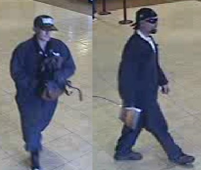 Seal Beach police are searching for two suspects, seen here in surveillance footage, who robbed a bank Tuesday, Jan. 2. (Photo Courtesy of the Seal Beach Police Department)