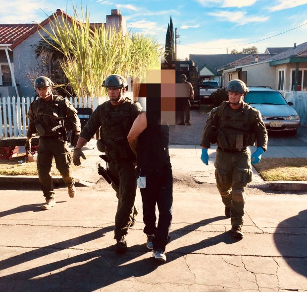 A Los Angeles County Sheriff's Department Special Enforcement Bureau SWAT team responded to Mountain View Street, just west of Long Beach Boulevard, as a man sought in connection with two San Gabriel Valley restaurant robberies was believed to to be holed-up inside. The suspect was arrested after an 11-hour standoff. (Courtesy, Los Angeles County Sheriff's Department)