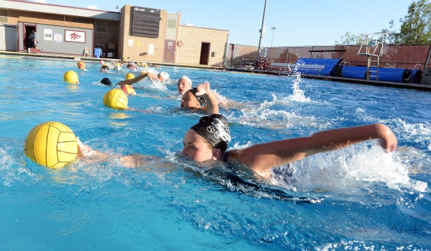 Claremont senior girl water polo players Makenna Moore (front) and Lauren Hoyle (above) have led the Wolfpack to an undefeated league record of 8-0 and 24-5 overall. (Staff Photo Will Lester-Inland Valley Daily Bulletin/SCNG)