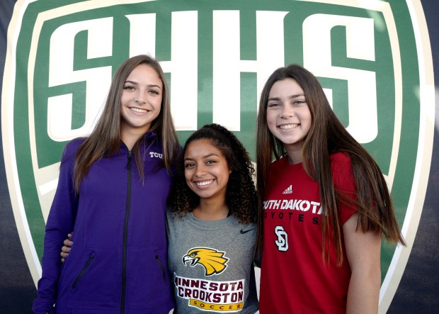 South Hills soccer players Madison Warren, left, (Texas Christian) Taylor Goodwin, center, (Minnesota Crookston) and Tyler Cotter (South Dakota) during National Signing Day at South Hills High School in Covina, Calif., on Wednesday, Feb. 7, 2018. (Photo by Keith Birmingham, Pasadena Star-News/SCNG)
