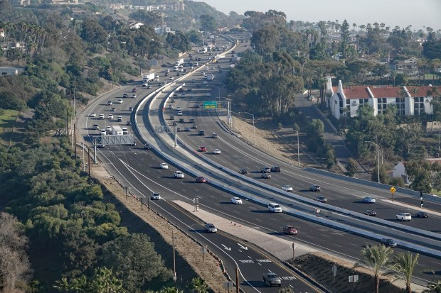 This view of southbound I-5 at Avenida Pico in San Clemente, pictured on Feb. 2, 2018, shows where a carpool lane being added will end, turning into a general-purpose lane, when a four-year freeway widening concludes this spring. (Photo by Fred Swegles; Orange County Register/SCNG)