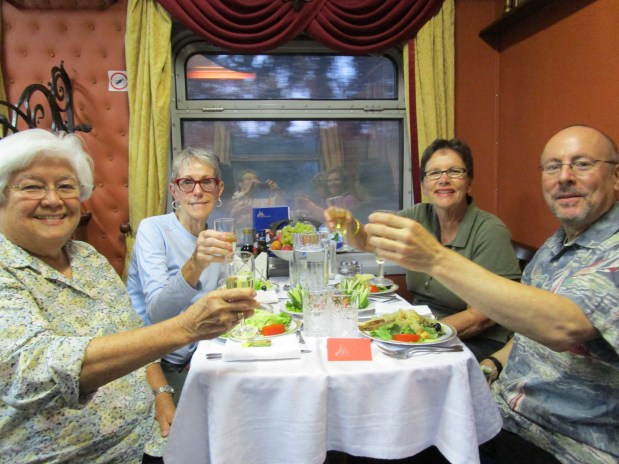 At their first dinner on the Zarengold train are, from left, Janet Landfried of Redlands, Diann Rector of Corona, Barbara Krause of Redlands and Jeff Abuhl of Phoenix. (Photo Courtesy of Janet Landfried)