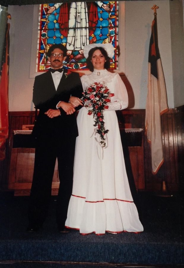 Mike and Karen Romin were married at Knott's Berry Farm's Church of Reflections in 1985. /Courtesy of Karen Romin