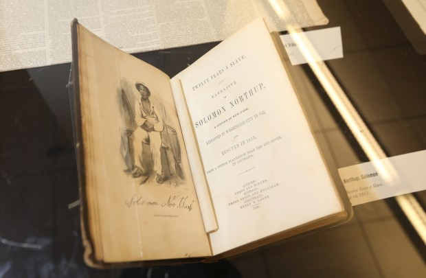 """Twelve Years A Slave"" on display at the ""Footsteps to You: Chattel Slavery"" exhibition at UCR's Rivera Library on Friday, Feb. 9, 2018, in Riverside, Calif.. (Stan Lim, The Press-Enterprise/SCNG)"