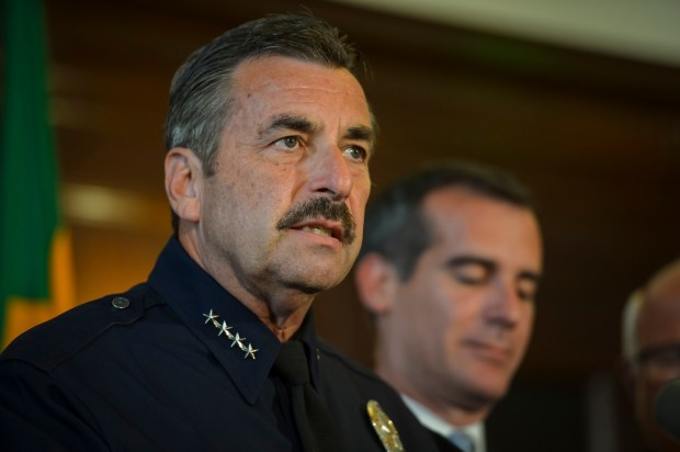 LAPD Chief Charlie Beck speaks at a press conference, joined by and Los Angeles Mayor Eric Garcetti. (File photo by David Crane/L.A. Daily News)