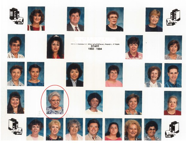 Barbara Lawrence Hill, Orange County's first black teacher, is shown here in a school staff photo from 1993-94 at Madison Elementary in Santa Ana. Barbara Lawrence Hill was Orange County's first black teacher, starting at Santa Ana Unified in the 1960s. Hill taught grade school at Santa Ana Unified more than three decades and continued substitute teaching, tutoring and volunteering after she retired. Hill died at 82 in late January.