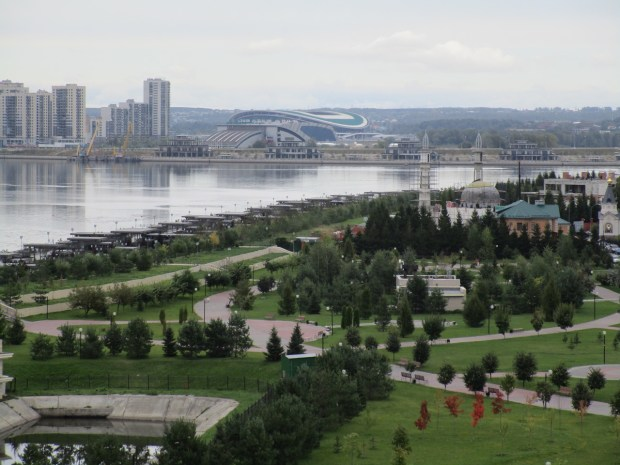 A view of the city of Kazan on the Volga River. Across the river is the new stadium built for the 2018 FIFA World Cup. (Photo Courtesy of Janet Landfried)