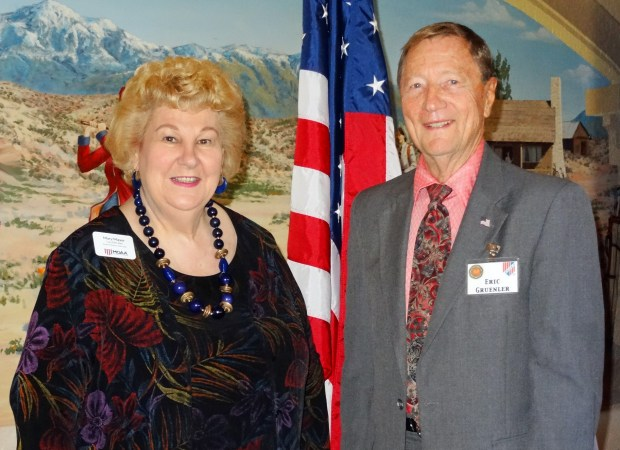 Retired U.S. Air Force Col. Mary J. Mayer, left, with Eric Gruenler, president of the Orange Empire Military Officers' Club. (Courtesy Photo)