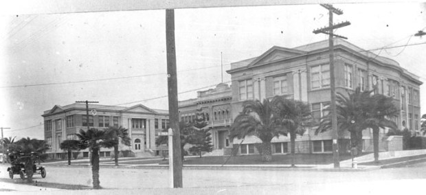 A historic photo shows the modern Reeves and Smith Halls at the corner of Glassell and Palm in 1913, then the site of Orange Union High School. Reeves and Smith today serve as the face of Chapman University. (Courtesy of Chapman University)