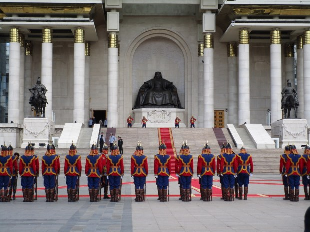 Formally dressed soldiers in front of the statue of Ghengis Khan in Ulaan Baatar, Mongolia. They were part of a ceremony to greet the new Canadian ambassador. (Photo Courtesy of Janet Landfried)