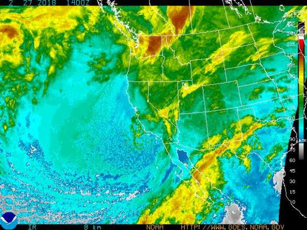 This enhanced infrared satellite view shows storm activity in the Western U.S. and the Pacific early Tuesday, Feb. 27, 2018. (Image courtesy of the National Weather Service)