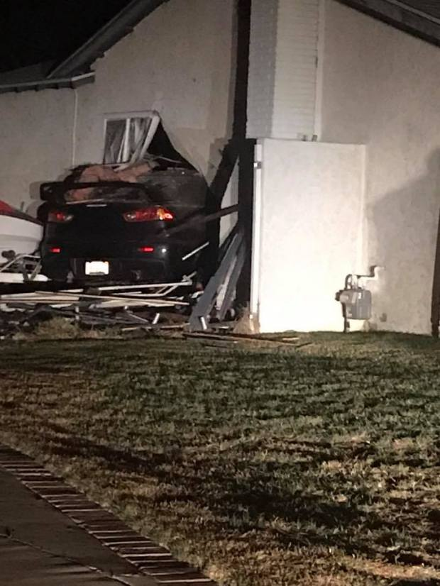 A teen drove a vehicle into a Chino house early Wednesday morning. (Courtesy Russell Hendry)