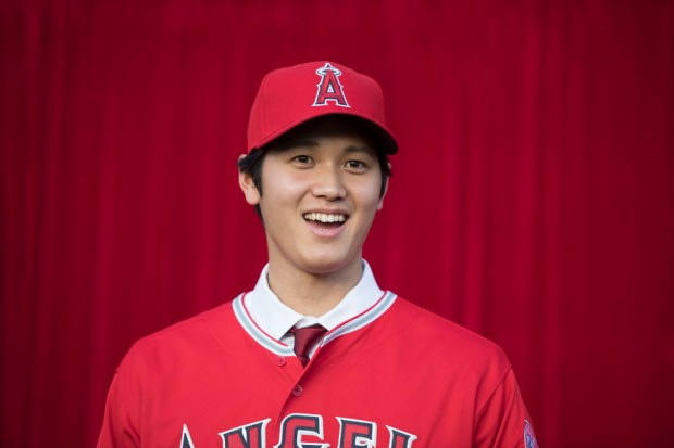 Shohei Ohtani is introduced by the Angels during a press conference at Angel Stadium in Anaheim on Saturday, Dec. 9, 2017. (Photo by Kevin Sullivan, Orange County Register/SCNG)