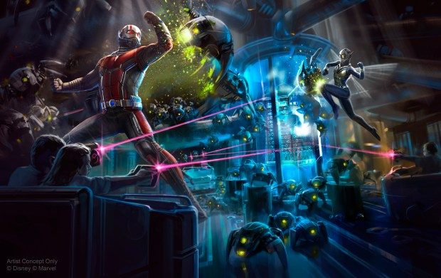 A new Marvel attraction is planned for Hong Kong Disneyland, where guests will be invited to team up with Ant-Man and The Wasp to fight Arnim Zola and his army of Hydra swarm bots in a thrilling new adventure. Courtesy of the Walt Disney Co.