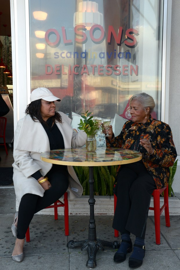 "Mamie Hansberry, the sibling of ""A Raisin in the Sun"" playwright Lorraine Hansberry, talks about her late sister, Wednesday afternoon with her daughter, Nantille Hansberry Charbonnet, at Olson's Scandinavian Cafe and Delicatessen February 21, 2018.Photo for The Daily Breeze/SCNG by Axel Koester."