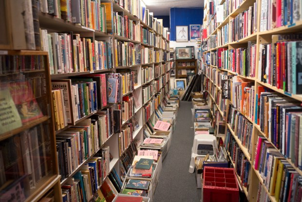 Books are stacked floor to ceiling at David Kaye Books & Memorabilia in Woodland Hills. Kaye has over 15,000 books in his shop, many of which are rare and signed by the authors. (Photo by David Crane/Los Angeles Daily News-SCNG)