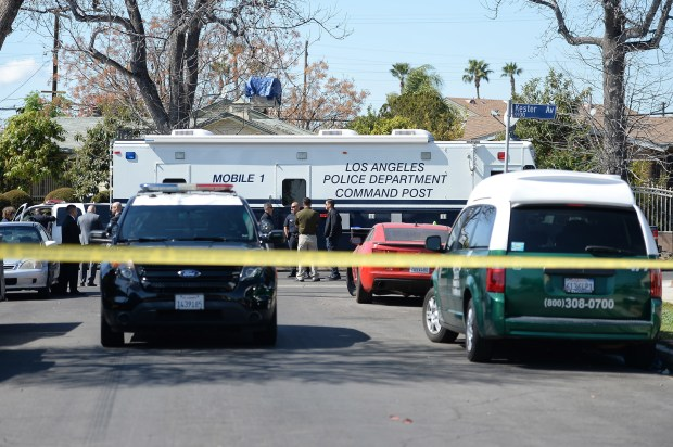 Los Angeles police are at the scene of a fatal officer-involved shooting Monday, Feb. 26, 2018, on the 9100 block of Kester Avenue, near the intersection with Nordoff Street in Panorama City. The victim, who has been described as mentally ill, was identified Tuesday. (Photo by Hans Gutknecht, Los Angeles Daily News/SCNG)