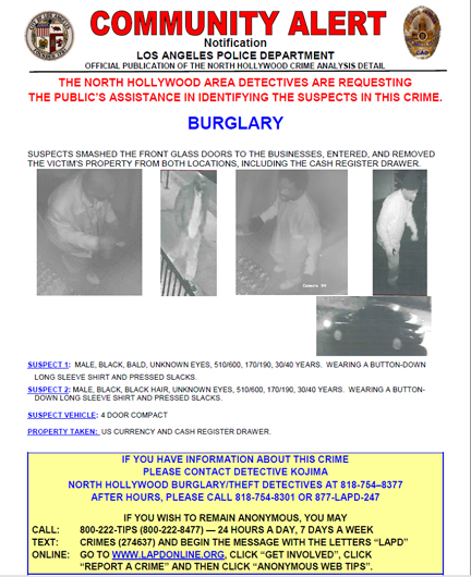 The suspects have been linked to burglaries that have occurred since September 2017, with the last five occurring Feb. 14, 2018, according to the Los Angeles Police Department