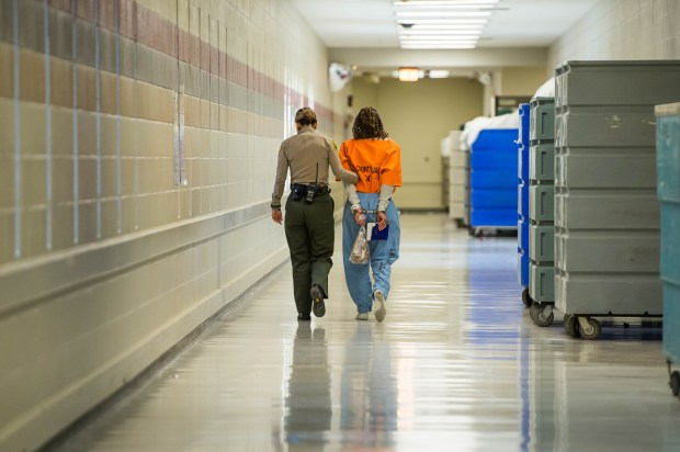 An inmate is moved through the Women's Jail in Lynwood on Dec. 18, 2017. (Photo by Sarah Reingewirtz, Los Angeles Daily News/SCNG)
