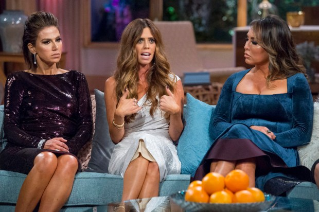 """Real Housewife"" Lydia McLaughlin, center, with cast members Peggy Sulahian left, and Kelly Dodd. (Photo by Nicole Weingart/Bravo)"