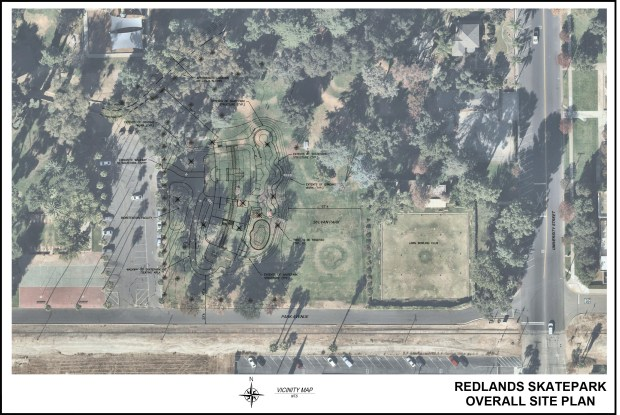 Map of the Redlands skatepark planned for inside Sylvan Park in Redlands.