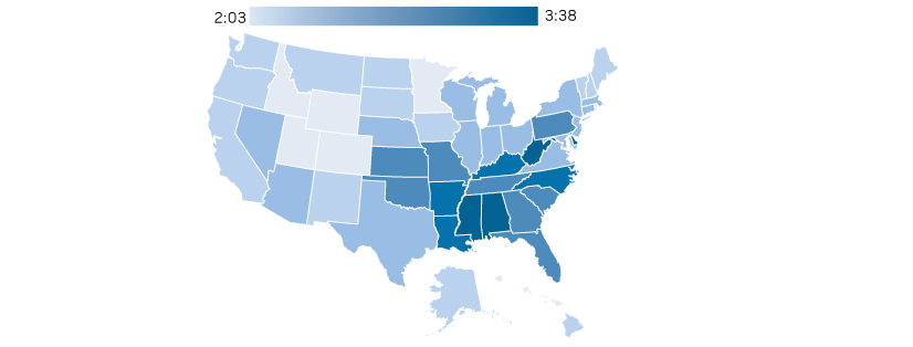 states that watch most TV