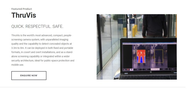 Metro is testing equipment made by UK-based Thruvision that is designed to detect explosives and firearms via a scanning system. The equipment has been installed at the Seventh Street/Metro Center subway station. (Image from the Tactical Solutions web site)