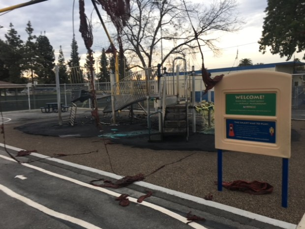 Police believe an arsonist set fire to playground equipment at Montvue Elementary School in Pomona. (Courtesy of the Pomona Police Department)