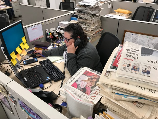 Monica Rodiguez hard at work in our newsroom. (Photo by David Allen)