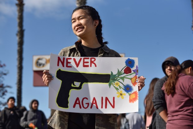 Students at Ocean View High School in Huntington Beach take part in the National School Walkout on Wednesday, March 14. (File photo by Jeff Gritchen, Orange County Register/SCNG)
