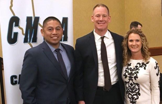 From left, Gabriel Diaz, principal of Golden Valley Middle School; Dale Marsden, San Bernardino City Unified School District superintendent; and Kristen Bicondova, former Golden Valley principal. (Courtesy Photo)