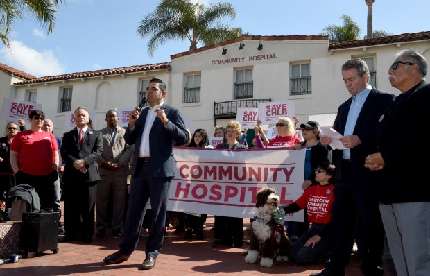 Long Beach Mayor Robert Garcia joined the California Nurses Assn., politicians and community members to speak at a press conference held outside Community Medical Center Long Beach to accuse MemorialCare Health System of deliberate actions accelerating the hospital's closure. Long Beach March 16, 2018. Photo by Brittany Murray, Press Telegram/SCNG