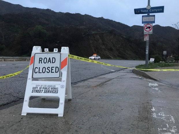 La Tuna Canyon is closed Thursday, March 22, 2018, due to the danger of flood and debris flow from recent wildfires as an atmospheric-river-fueled storm bears down on Southern California. (Photo by David Crane/Los Angeles Daily News)