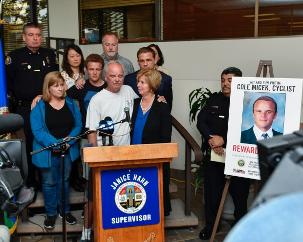 Los Angeles County Supervisor Janice Hahn, joined by the victim's family members, announced a $25,000 reward for information in connection with the March 3 hit-and-run death of 24-year-old Cole Micek of San Pedro. He was hit by two cars while riding his bicycle. (Photo by Martin Zamora)