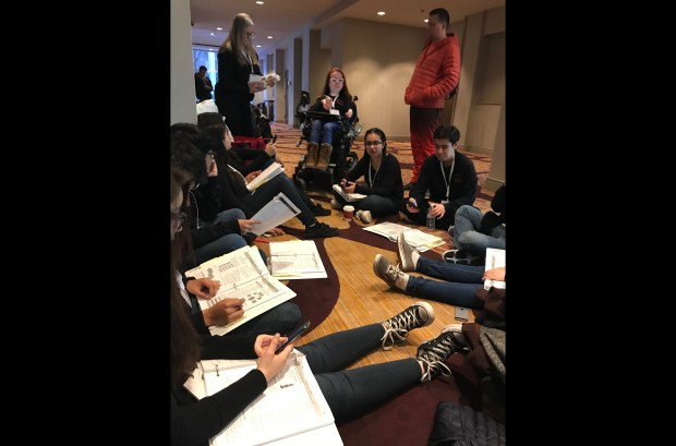 Students from Valley Glen's Ulysses S. Grant High School are seen studying Friday, March 23, 2018, for the California Academic Decathlon in Sacramento. The school is one of 24 from the Los Angeles area competing in the state championship for a shot at the U.S. Academic Decathlon. (Photo by Pamela Damonte, principal of Grant High School, via Twitter)
