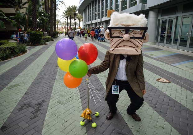 Andrea Seale, dressed as Carl from Up, including a foam head she made herself at WonderCon in Anaheim on Friday, Mar 23, 2018. (Photo by Jeff Gritchen, Orange County Register/SCNG)