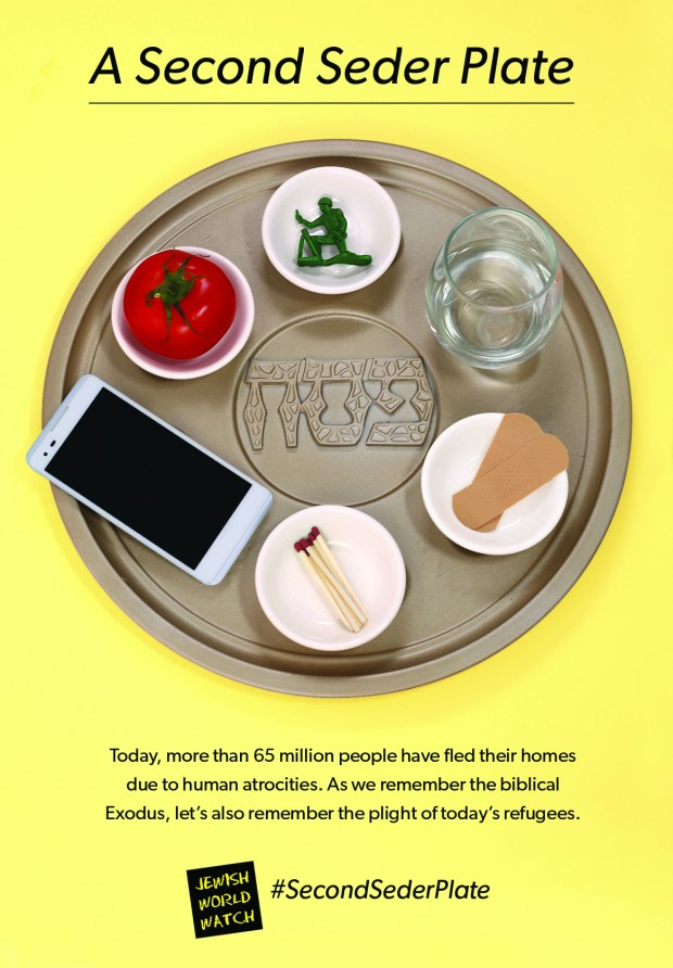 The Encino-based Jewish World Watch is urging Jews to create a second Seder plate with modern symbols this Passover holiday to highlight the plight of refugees around the world. (Courtesy photo)