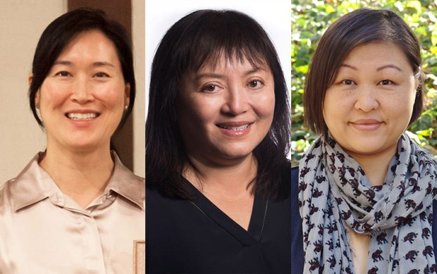 Eliza Noh, left, and Phi Loan Le, were among the contributors to a scientific journal issue co-edited by Yuying Tsong, right. (Photo courtesy of Cal State Fullerton)