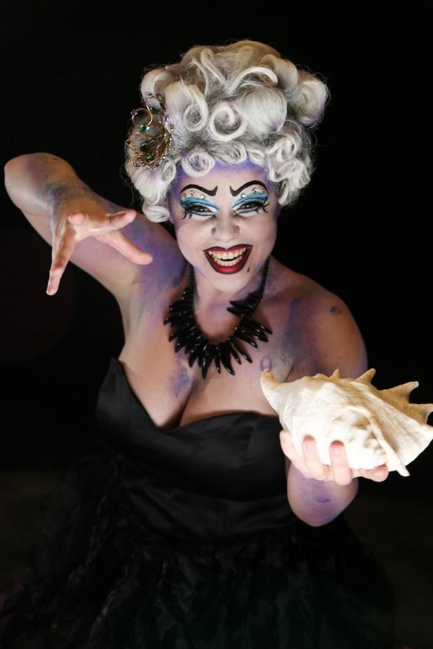 "Olivia Pence embodies Ursula in Cal State Fullerton's production of ""Disney's The Little Mermaid."" (Photo by Jordan Kubat)"