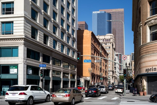 Third and Spring streets in Los Angeles on April 3, 2018. (Photo by David Crane, Los Angeles Daily News/SCNG)