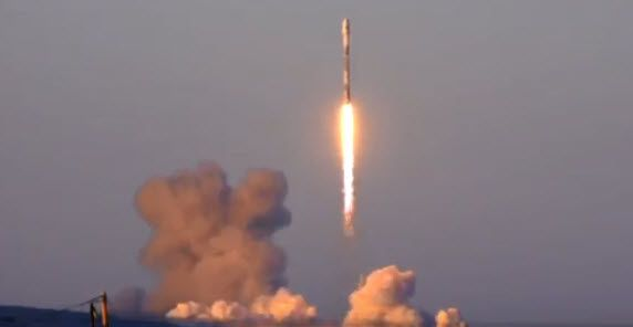 A SpaceX Falcon 9 rocket takes off from Vandenberg Air Force Base in California on Friday, March 30, 2018. (Image from live SpaceX video)