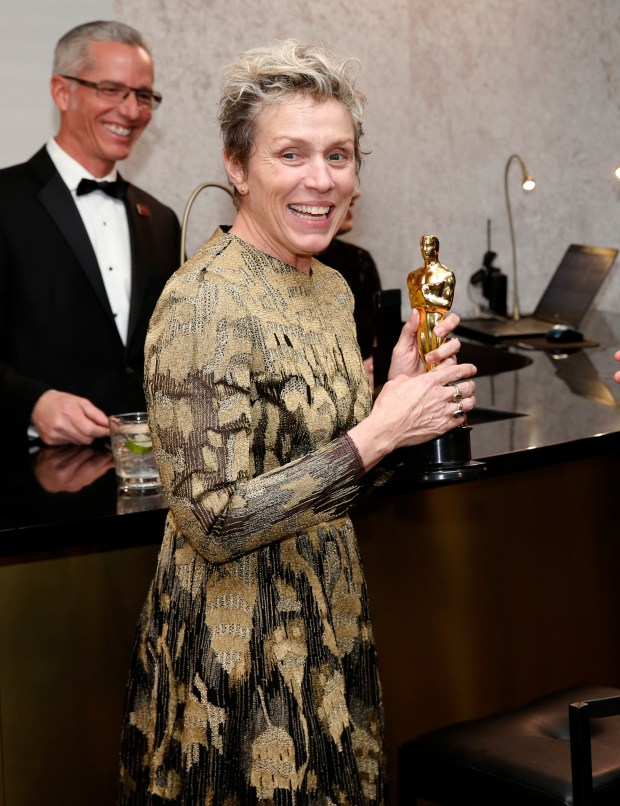 "Frances McDormand, winner of the award for best performance by an actress in a leading role for ""Three Billboards Outside Ebbing, Missouri"", attends the Governors Ball after the Oscars on Sunday, March 4, 2018, at the Dolby Theatre in Los Angeles. A man is being charged for allegedly stealing her statuette. (Photo by Eric Jamison/Invision/AP)"