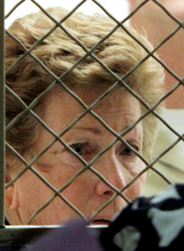 In this Aug. 24, 2012 photo Lois Goodman looks towards her attorney during her arraignment on murder charges in Los Angeles. Charges were eventually dropped against Goodman, who was reinstated as a tennis umpire. (AP Photo/Nick Ut,File)